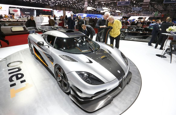 Koenigsegg Agera One:1 car is pictured during the media day ahead of the 84th Geneva Motor Show at the Palexpo Arena in Geneva March 5, 2014. The Geneva Motor Show will run from March 6 to 16.    REUTERS/Arnd Wiegmann (SWITZERLAND  - Tags: TRANSPORT BUSINESS)