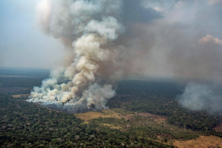epa07792911 A handout photo made available by Greenpeace Brazil showing smoke rising from the fire at the Amazon forest in Novo Progresso in the state of Para, Brazil, 23 August 2019.  EPA/Victor Moriyama / Greenpeace Brazil HANDOUT  HANDOUT EDITORIAL USE ONLY/NO SALES/NO ARCHIVES