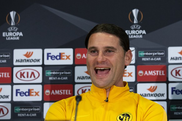 Bern's head coach Gerardo Seoane reacts during a press conference one day before the UEFA Europa League group stage match between Switzerland's BSC Young Boys Bern and Scotland's Glasgow Rangers, at the Stade de Suisse Stadium in Bern, Switzerland, Wednesday, October 2, 2019. (KEYSTONE/Peter Klaunzer)