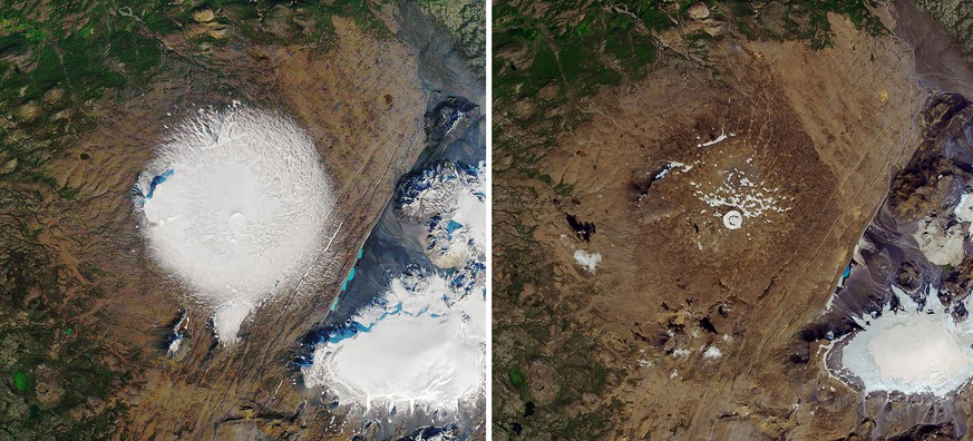 epa07763878 (COMPOSITE) A handout composite photo made available by NASA Earth Observatory of satellite images showing the Okjokull Glacier (also called Ok), West Iceland taken on 07 September 1986 (L) and on 01 August 2019 (R), (issued 09 August 2019). The Okjokull lost its glacier status in 2014 after it significantly melted down to rising temperatures. The former glacier will be marked with a memorial on 18 August 2019, highlighting the impact of climate change.  EPA/NASA EARTH OBSERVATORY HANDOUT  HANDOUT EDITORIAL USE ONLY/NO SALES