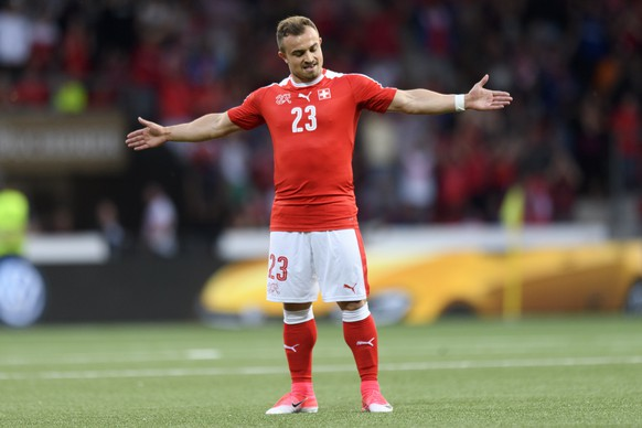 Swiss forward Xherdan Shaqiri celebrates his goal after scoring the firt goal during a friendly soccer match on the side line of the 2018 Fifa World Cup group B qualification between Switzerland and Belarus at the Stadium Maladiere, in Neuchatel, Switzerland, Thursday, June 1, 2017. (KEYSTONE/Laurent Gillieron)