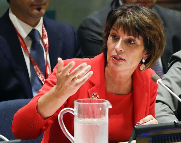 epa06895238 Switzerland's Federal Councillor Doris Leuthard, addresses a ministerial meeting of the 2018 High-level Political Forum on Sustainable Development at United Nations headquarters in New York, USA, 17 July 2018.  EPA/JASON SZENES