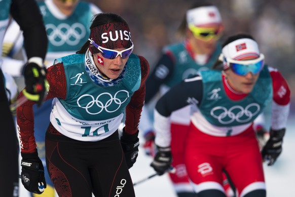 Nathalie von Siebenthal of Switzerland in action during the women cross country skiathlon in the Alpensia Cross Country Skiing Center during the XXIII Winter Olympics 2018 in Pyeongchang, South Korea, on Saturday, February 10, 2018. (KEYSTONE/Gian Ehrenzeller)