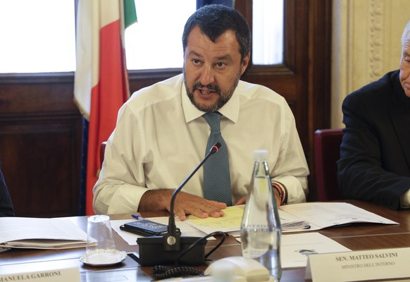Italian Deputy-Premier and Interior Minister Matteo Salvini attends a meeting at the Viminale Interior Ministry headquarters, in Rome, Wednesday, July 24, 2019. (AP Photo/Gregorio Borgia)