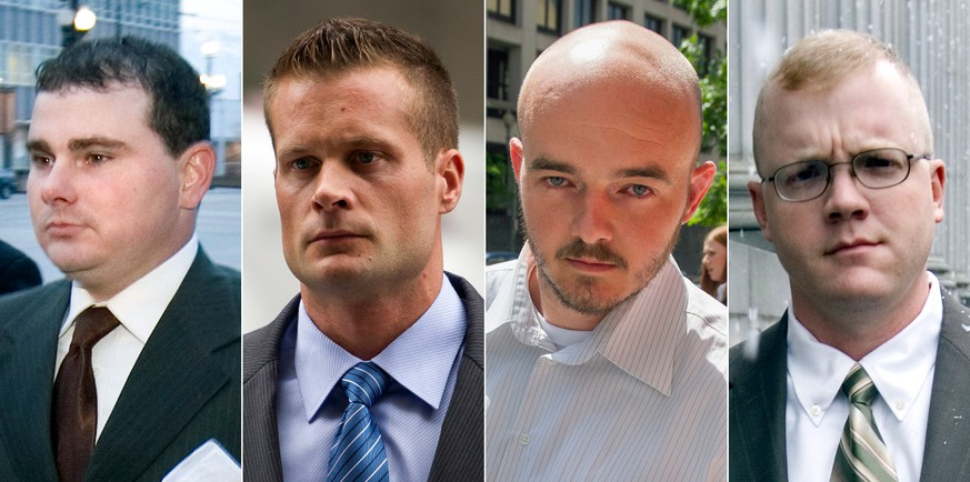 This combination made from file photo shows Blackwater guards, from left, Dustin Heard, Evan Liberty, Nicholas Slatten and Paul Slough. A years-long legal fight over a deadly mass shooting of civilians in an Iraq war zone reaches its reckoning point, when the former Blackwater security guards are sentenced for the rampage. Three of the guards, Heard, Liberty and Slough, face mandatory decades-long sentences because of firearms convictions. Slatten, faces a penalty of life in prison after being found guilty of first-degree murder. (AP Photo)