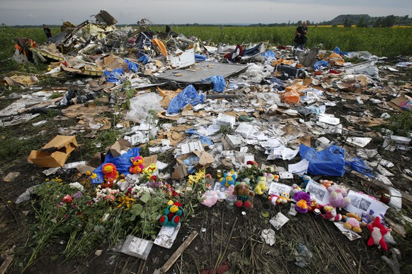 Flowers and mementos left by local residents at the crash site of Malaysia Airlines Flight MH17 are pictured near the settlement of Rozspyne in the Donetsk region in this July 19, 2014 file photo. MH17 was shot down on July 17, 2014 with 298 passengers on board. REUTERS/Maxim Zmeyev/Files  FROM THE FILES - ONE YEAR ANNIVERSARY OF MH17 DOWNING. SEARCH
