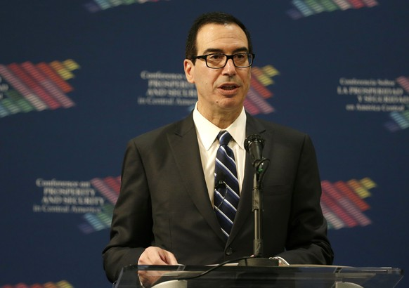 Treasury Secretary Steve Mnuchin speaks during the Conference on Prosperity and Security in Central America, Thursday, June 15, 2017, in Miami. (AP Photo/Lynne Sladky, Pool)