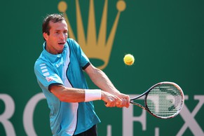 MONTE-CARLO, MONACO - APRIL 14:  Radek Stepanek of Czech Republic in action against Ivo Karlovic of Croatia during day two of the ATP Monte Carlo Rolex Masters Tennis at Monte-Carlo Sporting Club on April 14, 2014 in Monte-Carlo, Monaco.  (Photo by Julian Finney/Getty Images)