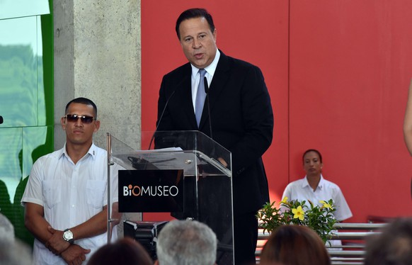 Panamanian President Juan Carlos Varela delivers a speech during the inauguration of the Museum of Biodiversity in Panama City on September 30, 2014. The museum shows the evolution of the Isthmus of Panama, its flora and fauna, and it's teh first work of Canadian Architect Frank Gehry in Latin America.  AFP PHOTO/ Rodrigo ARANGUA