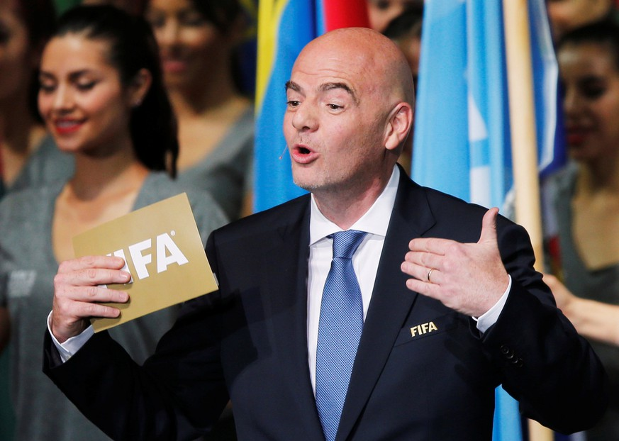 FIFA President Gianni Infantino gives a speech during the opening ceremony of the 66th FIFA Congress in Mexico City, Mexico, May 12, 2016.  REUTERS/Henry Romero
