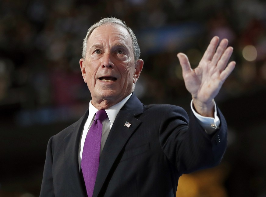 FILE- In this July 27, 2016 file photo, former New York City Mayor Michael Bloomberg waves after speaking to delegates during the third day session of the Democratic National Convention in Philadelphia. The former three-term New York City mayor is one of four New York residents who appear in an Associated Press analysis of the contributions of people who have given at least $100,000 to school-choice statewide ballot campaigns around the country. (AP Photo/Carolyn Kaster, File)