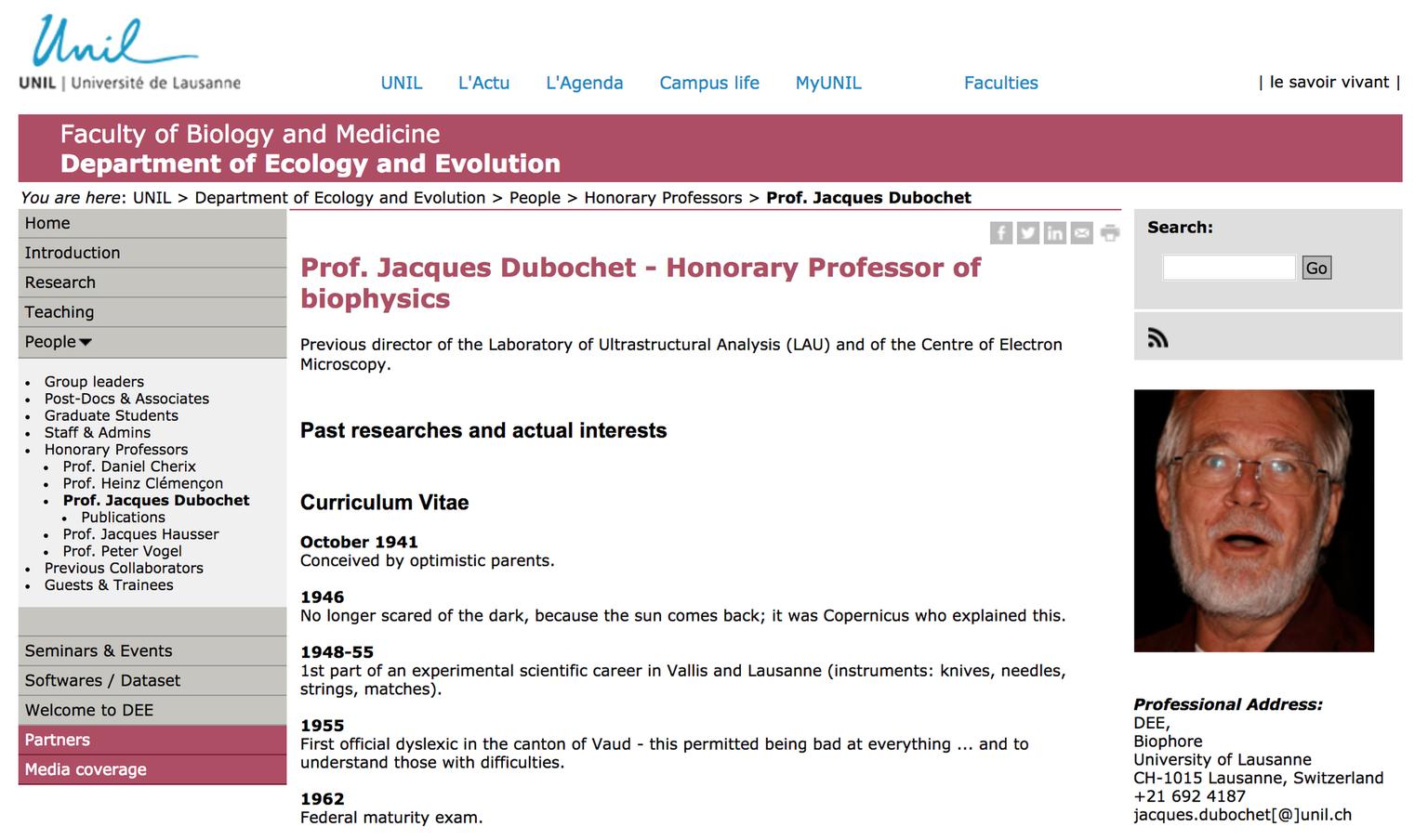 Wir haben den CV von Nobelpreisträger Jacques Dubochet übersetzt ...
