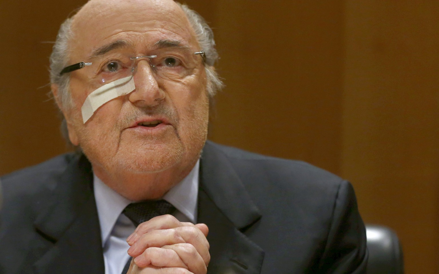 FIFA's suspended president Sepp Blatter holds a news conference in Zurich, Switzerland, December 21, 2015. Blatter will appeal against his eight-year ban by the world soccer body's ethics committee imposed on Monday, he told reporters.