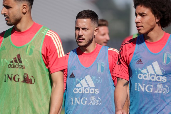 epa09260146 Eden Hazard of Belgium attends a training session as part of the preparations for EURO 2020 in Tubize, Belgium, 10 June 2021. The UEFA EURO 2020 soccer tournament will be held from 11 June to 11 July 2021.  EPA/STEPHANIE LECOCQ