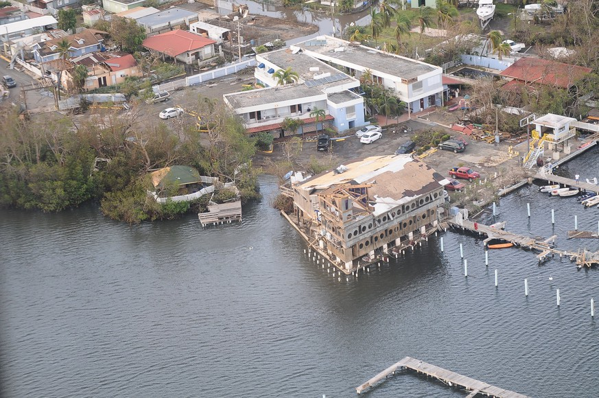 epa06233682 A handout photo made available by the Puerto Rico National Guard (PRNG) on 28 September 2017 shows an aerial view of damaged buildings in San Juan, Puerto Rico, 23 September 2017, during a reconnaissance flight of the island in the aftermath of Hurricane Maria. Adjutant General of Puerto Rico, Brig. Gen. Isabelo Rivera, and State Command Sgt. Maj. Juvencio Méndez, along with the Governor of Puerto Rico, Hon. Ricardo Rossello Nevares, and the Resident Commissioner of Puerto Rico in Washington, Hon. Jennifer Gonzalez, the director of FEMA in Puerto Rico, Alejandro de la Campa, and the Director of the Authority of Electrical Energy of Puerto Rico, Eng. Ricardo Ramos surveyed the area during a flight over the island. After the passage of the storm in the Caribbean, the majority of Puerto Rico is still without electricity and half of the residents do not have running water, media reported.  EPA/PRNG/SGT. JOSE AHIRAM DIAZ-RAMOS HANDOUT  HANDOUT EDITORIAL USE ONLY/NO SALES