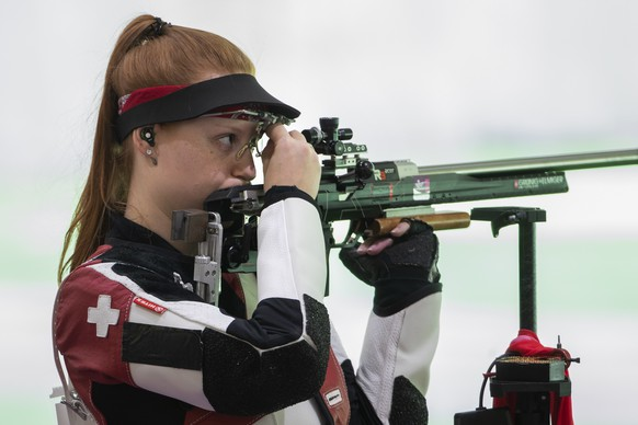 Nina Christen of Switzerland competes during the.women's shooting 50m Rifle 3 Positions Qualification.at the 2020 Tokyo Summer Olympics in Tokyo, Japan, on Saturday, July 31, 2021. (KEYSTONE/Peter Klaunzer)