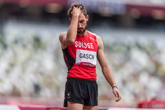 Loic Gasch  (SUI) waiting for his attempt in the men's high jump at the Olympic Games in Tokyo, on Friday, July 30, 2021 (KEYSTONE/ATHLETIX.CH/ULF SCHILLER)