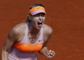 Maria Sharapova of Russia reacts during her women's semi-final match against Eugenie Bouchard of Canada at the French Open tennis tournament at the Roland Garros stadium in Paris June 5, 2014.       REUTERS/Gonzalo Fuentes (FRANCE  - Tags: SPORT TENNIS TPX IMAGES OF THE DAY)