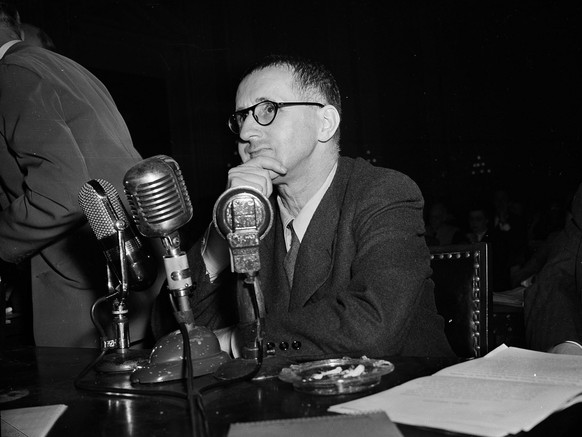 German-born writer, Bertolt Brecht, is shown as he appeared before the House Un-American Activities Committee in Washington in this October 30, 1947 photo. An investigation by the FBI of Brecht's ties to Communism gets hostile treatment in a play entitled