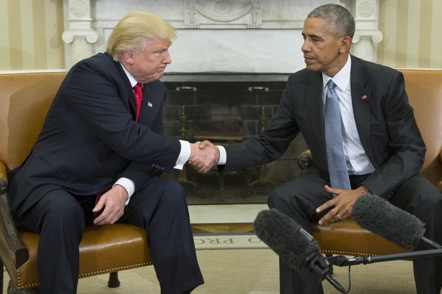 epa05706708 (FILE) A file picture dated 10 November 2016 shows US President Barack Obama (R) as he shakes hands with President-elect Donald Trump (L) at the end of their meeting in the Oval Office of the White House in Washington, DC, USA. On 04 November 2008, then Democratic Senator Barack Obama (Illinois), at age 47, earned 365 electoral votes and nearly 53 of the popular vote in a wider-than-expected margin of victory against Republican Senator John McCain in the US Presidential elections. He became the 44th president of the United States and the first African American to be elected to office. President Obama quickly became known as a progressive politician and was named the 2009 Nobel Peace Prize laureate nine months after his inauguration. However, he faced his share of challenges during his 8-year tenure. The Republicans held control of the Senate throughout his time in the White House and he faced constant challenges passing legislation. His administration is generally known for pursuing policies such as gun control, greater inclusiveness for LGBT Americans, the promotion of the 2015 Paris Agreement on global climate change and the Obamacare health care program for Americans. It is also known for a series of historic initiatives in international relations such as a nuclear deal with Iran and normalized relations with Cuba.  EPA/MICHAEL REYNOLDS *** Local Caption *** 53112763