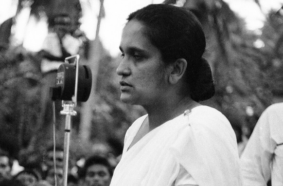 Mrs. Sirimavo Bandaranaike, widow who campaigned in general elections with frequent tears, was called by Ceylon?s governor general to become the modern world?s first women Prime Minister on July 21, 1960. Returns from recent general election assured her freedom party of a majority in parliament. Her husband was Prime Minister until his assassination last year. (AP Photo)
