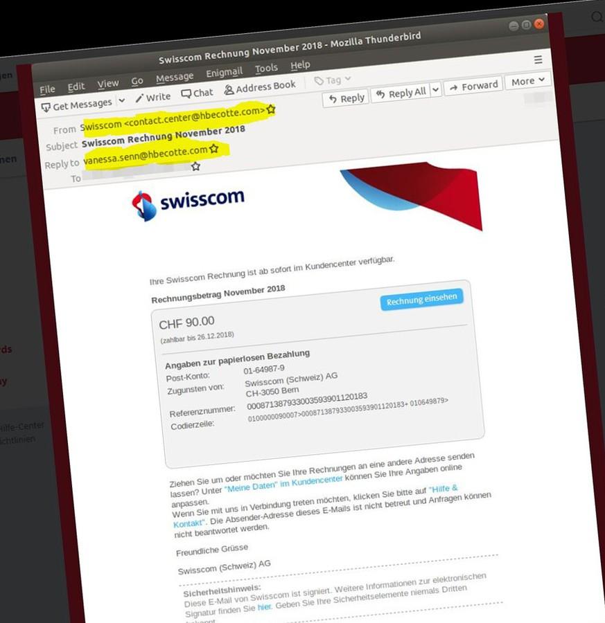Kriminelle Versenden Gefälschte Swisscom E Mails Watson