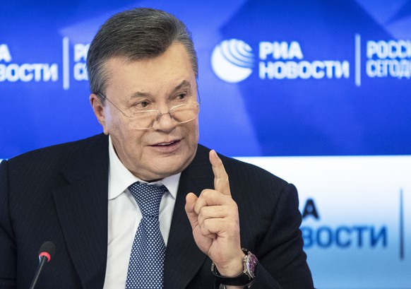 Former Ukraine President Viktor Yanukovych speaks during a news conference in Moscow, Russia, Wednesday, Feb. 6, 2019. Ukraine's exiled former president, who was found guilty of fueling a deadly separatist conflict in the east, on Wednesday claimed there could be possible vote rigging in the country's upcoming presidential election. (AP Photo/Pavel Golovkin)