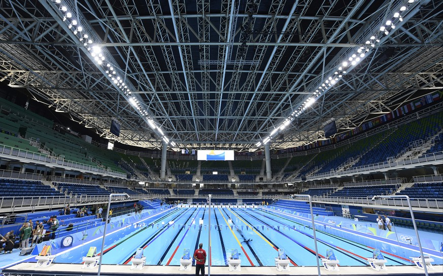 A general view inside the swimming venue ahead of the 2016 Summer Olympics, Thursday, Aug. 4, 2016, in Rio. (AP Photo/Martin Meissner)