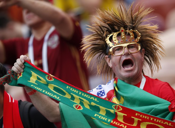Fabn of Portugal shouts prior the group B match between Portugal and Morocco at the 2018 soccer World Cup in the Luzhniki Stadium in Moscow, Russia, Wednesday, June 20, 2018. (AP Photo/Francisco Seco)