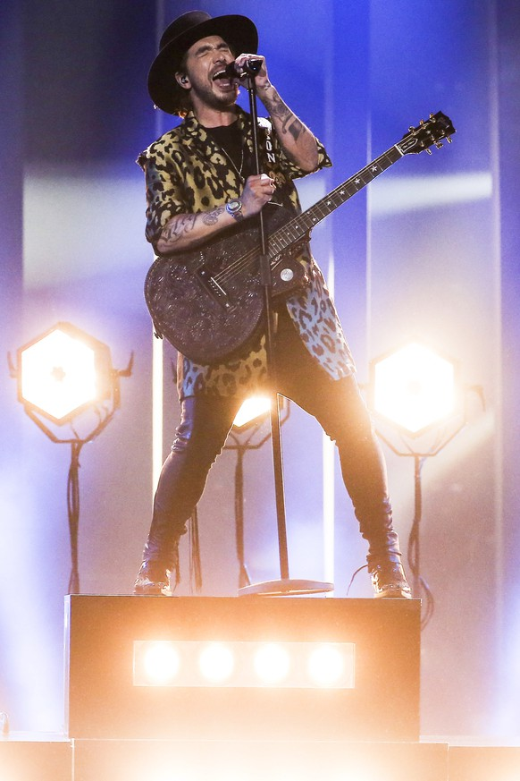 epa06728530 Waylon representing The Netherlands with 'Outlaw In 'Em' performs during rehearsals for the Grand Final of the 63rd annual Eurovision Song Contest (ESC) at the Altice Arena in Lisbon, Portugal, 11 May 2018. The Grand Final of the ESC 2018 is held on 12 May.  EPA/JOSE SENA GOULAO