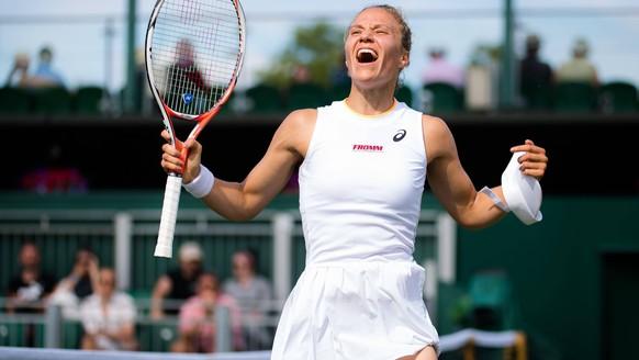 July 2, 2021: London, United Kingdom: VIKTORIJA GOLUBIC of Switzerland celebrates winning the third round of the 2021 Wimbledon Championships Grand Slam tennis tournament against M. Brengle of the United States. London United Kingdom - ZUMAa181 20210702_zaa_a181_053 Copyright: xRobxPrangex