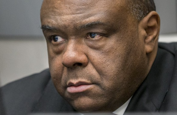 Jean-Pierre Bemba Gombo is seen in a court room of the ICC to hear the delivery of the judgment on charges including corruptly influencing witnesses by giving them money and instructions to provide false testimony and false evidence, in the Hague, the Netherlands, March 21, 2016. REUTERS/JERRY LAMPEN/Pool