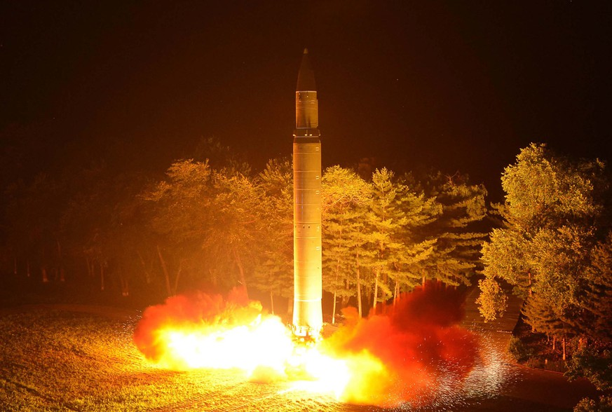 FILE - In this July 28, 2017, file photo distributed by the North Korean government, shows what was said to be the launch of a Hwasong-14 intercontinental ballistic missile at an undisclosed location in North Korea. North Korea was the main concern cited in the