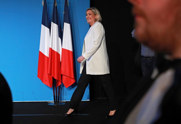 epa07603674 French far-right Rassemblement National (RN) President and member of French Parliament Marine Le Pen arrives to deliver a speech after the projections for the results of the European Parliament elections at the RN headquarters in Paris, France, 26 May 2019. The European Parliament election is held by member countries of the European Union (EU) from 23 to 26 May 2019.  EPA/CHRISTOPHE PETIT TESSON