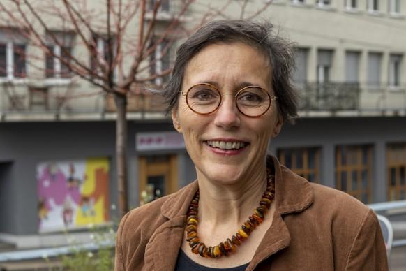 Heidi Mueck (BastA!), Kandidatin fuer den Regierungsrat, posiert als rotgruene Kandidatin fuer den zweiten Wahlgang in Basel am Donnerstag, 29. Oktober 2020. (KEYSTONE/Georgios Kefalas)