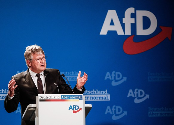 epa09126097 Alternative for Germany party (AfD) co-chairman Joerg Meuthen delivers a speech during Germany's right-wing populist Alternative for Germany (AfD) party convention in Dresden, Germany, 10 April 2021. AfD party convention takes place from 10 to 11 April 2021  EPA/FILIP SINGER