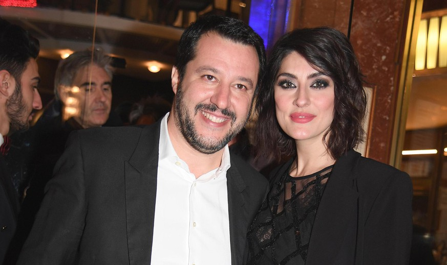 Northern League party leader Matteo Salvini and his partner Elisa Isoardi arrives to the Ariston theater to attend the 68th Sanremo Italian Song Festival, in Sanremo, Italy, Friday, Feb. 9, 2018. (Claudio Onorati/ANSA via AP)