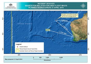 epa04174490 A handout image released by the Australian Maritime Safety Authority (AMSA) in Canberra, Australia, 21 April 2014 shows the current planned search areas in the Indian Ocean, West of Australia, for the wreckage of flight MH370, on 21 April 2014. Up to 10 military aircraft and 11 ships will assist on 21 April the search of missing flight MH370. The autonomous underwater vehicle (AUV) Bluefin-21 has completed its eighth mission in the underwater search area on early 21 April 2014. The AUV has searched approximately two thirds of the focused underwater search area with no contacts of interest being reported, the Australian Joint Agency Coordination Centre said. Flight MH370 went missing on early 08 March 2014 while en route from Kuala Lumpur, Malaysia, to Beijing, China.  EPA/AMSA  HANDOUT EDITORIAL USE ONLY/NO SALES