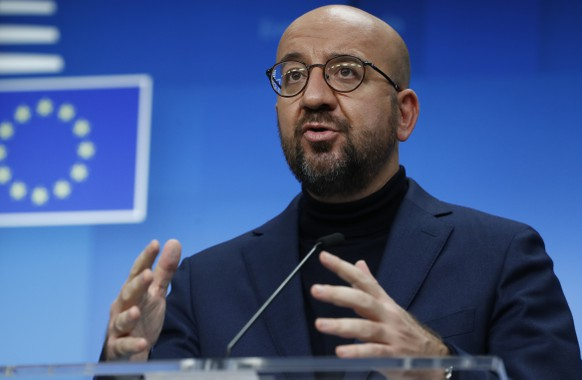 European Council President Charles Michel speaks during a media conference after an EU summit in video conference format at the European Council building in Brussels, Thursday, Oct. 29, 2020. EU leaders held a video conference to address the need to strengthen the collective effort to fight the COVID-19 pandemic. They also discussed quarantine regulations, cross-border contact tracing, and temporary restrictions on non-essential travel into the EU as well as the EU vaccine strategy. (Olivier Hoslet, Pool via AP)