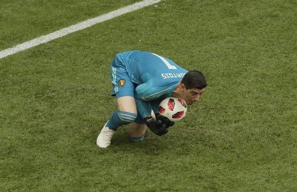 Belgium goalkeeper Thibaut Courtois makes a save during the third place match between England and Belgium at the 2018 soccer World Cup in the St. Petersburg Stadium in St. Petersburg, Russia, Saturday, July 14, 2018. (AP Photo/Dmitri Lovetsky)
