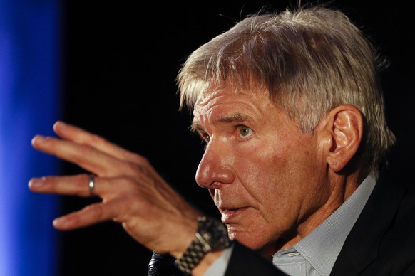 Actor Harrison Ford answers questions during a press event to promote his new film,