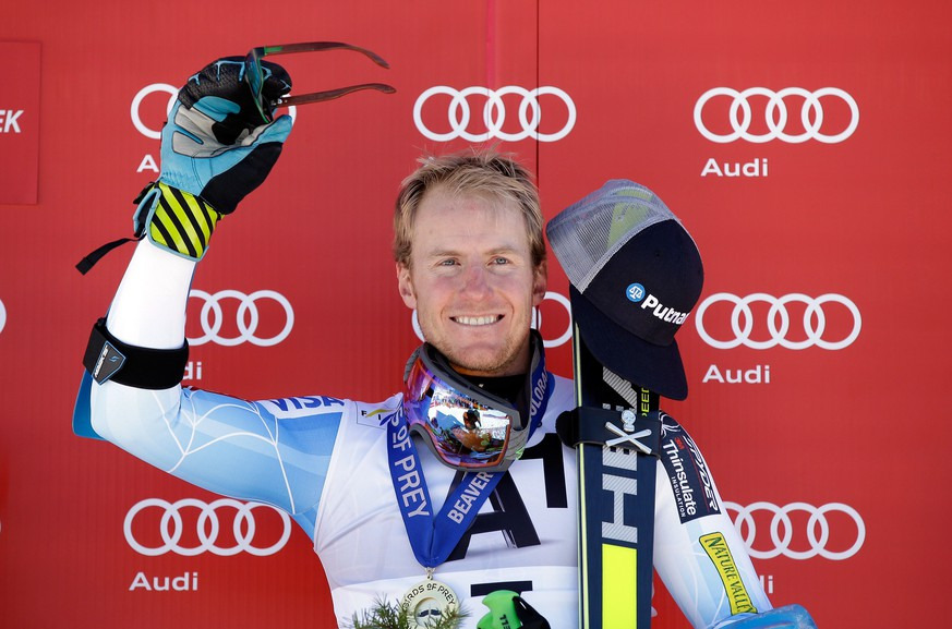 BEAVER CREEK, CO - DECEMBER 07: Ted Ligety of the United States celebrates on the podium after winning the Audi FIS World Cup Men's Giant Slalom Race on the Birds of Prey course on December 7, 2014 in Beaver Creek, Colorado.   Ezra Shaw/Getty Images/AFP == FOR NEWSPAPERS, INTERNET, TELCOS & TELEVISION USE ONLY ==