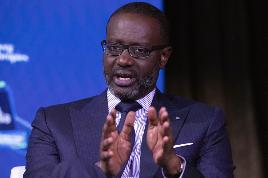Tidjane Thiam, CEO of Credit Suisse, speaks at the Bloomberg Global Business Forum, Wednesday, Sept. 25, 2019, in New York. (AP Photo/Mark Lennihan)