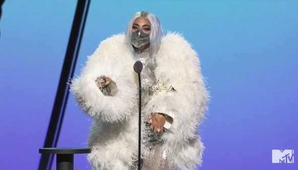 In this video grab issued Sunday, Aug. 30, 2020, by MTV, Lady Gaga accepts the award for artist of the year during the MTV Video Music Awards. (MTV via AP)