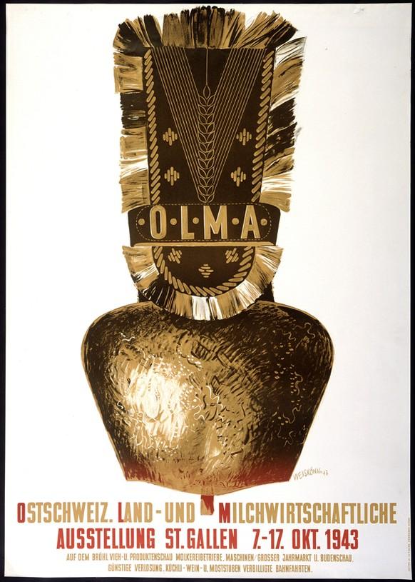 78 Mal Olma, 78 offizielle Plakate: Wir zeigen (fast) die ganze Kollektion. Ein Plakat löste seinerzeit eine halbe Staatsaffäre aus – findest du heraus, welches? Wir starten 1943: Das erste Olma-Plakat der Geschichte.