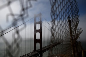 SAUSALITO, CA - JUNE 27: A view of the north tower of the Golden Gate Bridge on June 27, 2014 in Sausalito, California. The Golden Gate Bridge district's board of directors voted unanimously to approve a $76 million funding package to build a net suicide barrier on the iconic span. Over 1,500 people committed suicide by jumping from the iconic bridge since it opened in 1937. 46 people jumped to their death in 2013.   Justin Sullivan/Getty Images/AFP == FOR NEWSPAPERS, INTERNET, TELCOS & TELEVISION USE ONLY ==