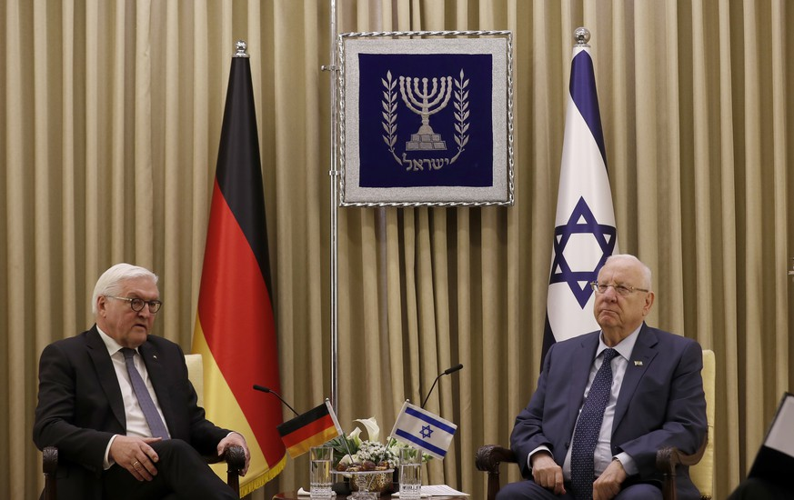 Israeli President Reuven Rivlin, right, meets with Germany's President Frank Walter Steinmeier at Rivlin's residence in Jerusalem, Israel, Wednesday, Jan. 22, 2020, ahead of the Fifth World Holocaust Forum on Jan. 23, 2020. (Atef Safadi/Pool Photo via AP) Reuvin Rivlin,Frank Walter Steinmeier