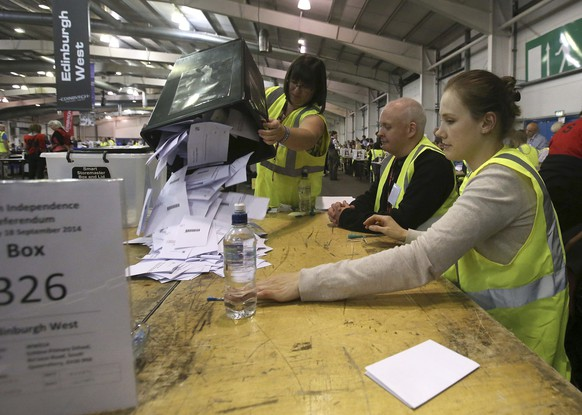 Ballot papers are counted through the night in the Scottish Independence Referendum at the Royal Highland Centre in Edinburgh, Scotland Thursday, Sept. 18, 2014. From the capital of Edinburgh to the far-flung Shetland Islands, Scots embraced a historic moment - and the rest of the United Kingdom held its breath - after voters turned out in huge numbers for an independence referendum that could end Scotland's 307-year union with England. (AP Photo/PA, Andrew Milligan) UNITED KINGDOM OUT, NO SALES, NO ARCHIVE