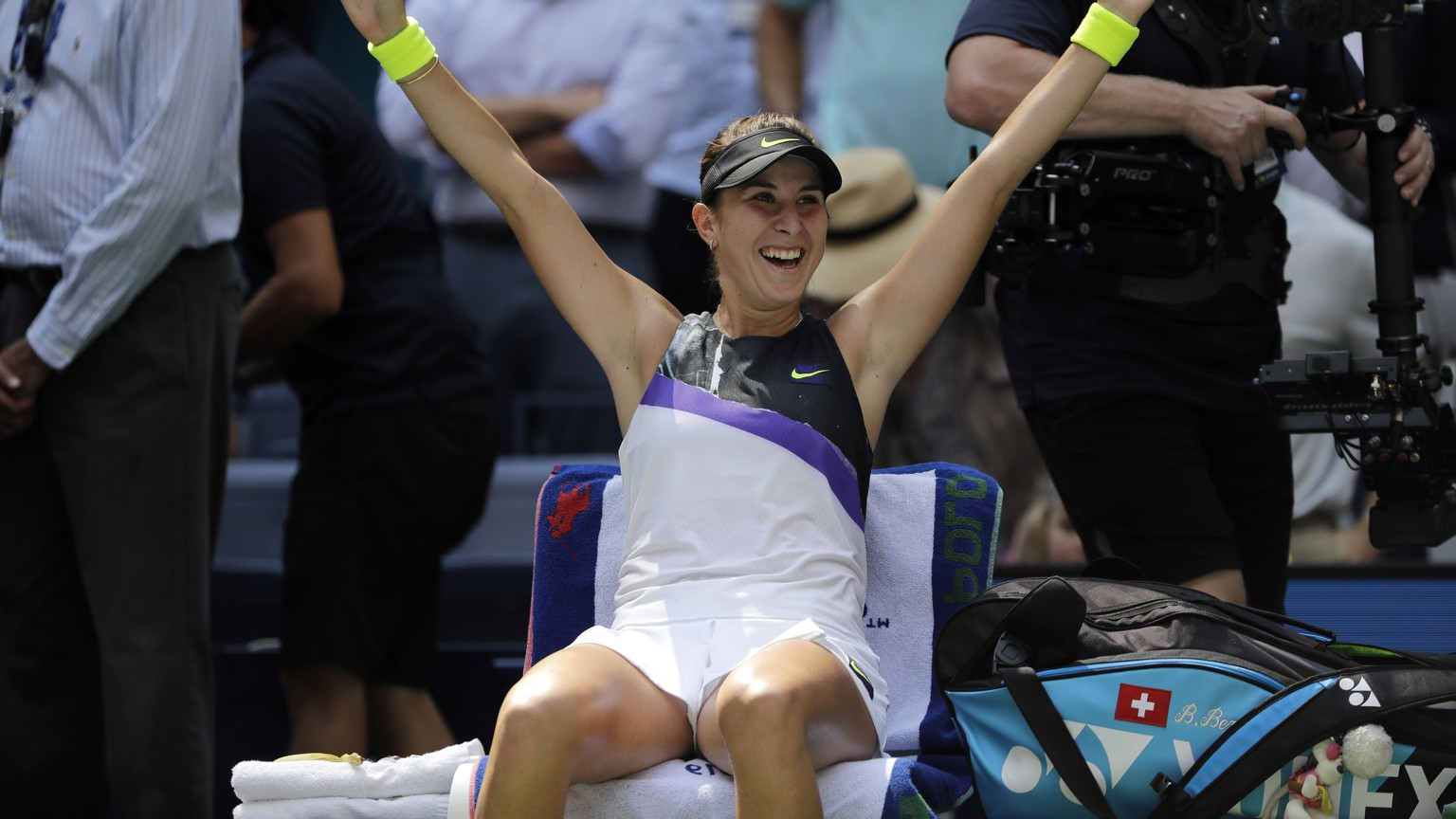 Belinda Bencic, of Switzerland, celebrates after defeating Donna Vekic, of Croatia, during the quarterfinals of the U.S. Open tennis championships Wednesday, Sept. 4, 2019, in New York. (AP Photo/Frank Franklin II) Belinda Bencic