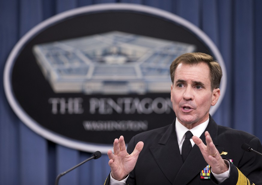 FILE- In this Nov. 7, 2014, file photo, Department of Defense Press Secretary Rear Admiral John Kirby, speaks during a news conference, at the Pentagon in Washington. State Department spokesman John Kirby said that